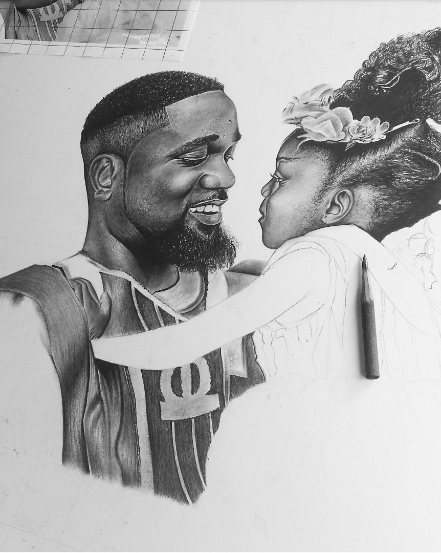 Draw sarkodie pencil sketch under town