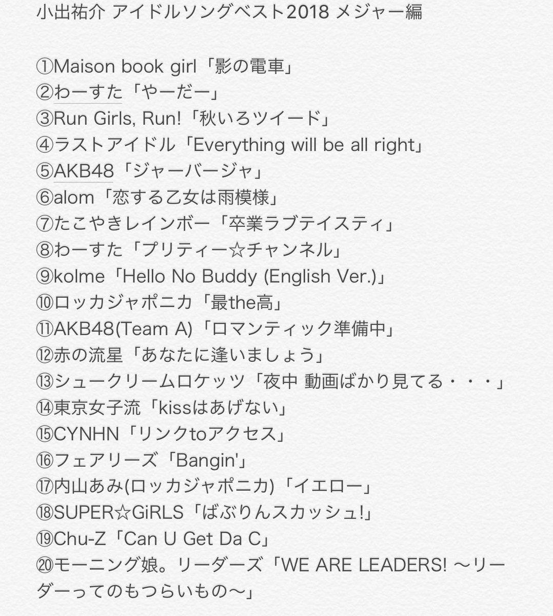 【速報】 宇多丸が選ぶアイドルソング2018が発表されたよー