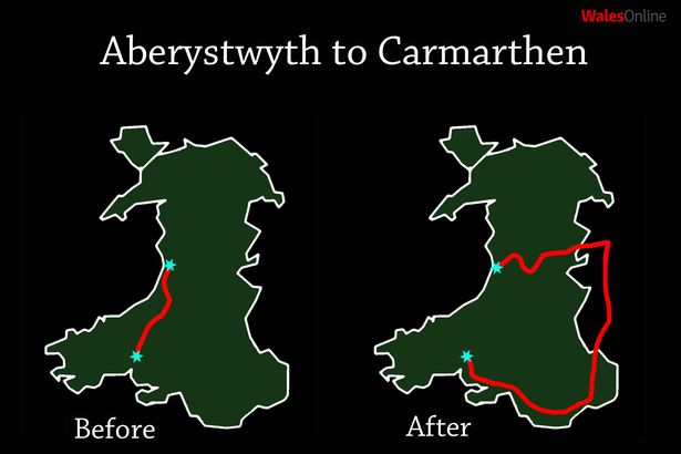 The damage done to Wales' rail network in the 1960s ruined it to this day.   To travel the 45 miles from Aberystwyth to Carmarthen by train you have to go through nine Welsh counties and two English ones on a journey that takes six hours.   http://bit.ly/2CPpyuj
