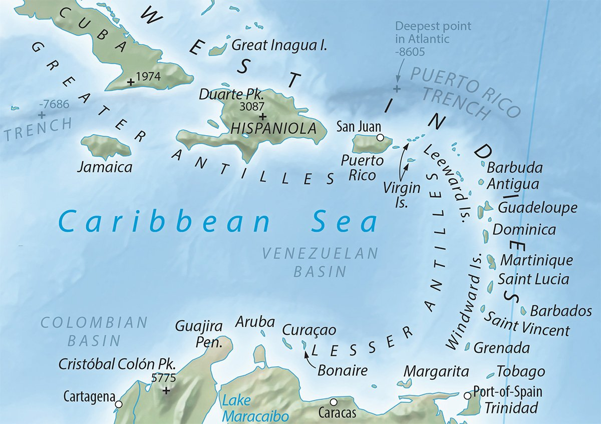Image of: Tom Patterson Twitter પર Equal Earth Physical Map The Caribbean Is A Classic Map Labeling Problem Lots Of Stuff And Too Little Space