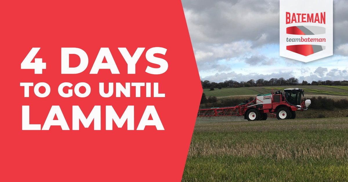 4 days to go - you can still register for free entry to @Lammashow and see both our RB35 and RB55 crop sprayers across both days #TeamBateman #CropSpraying #CropProtection #LAMMA19