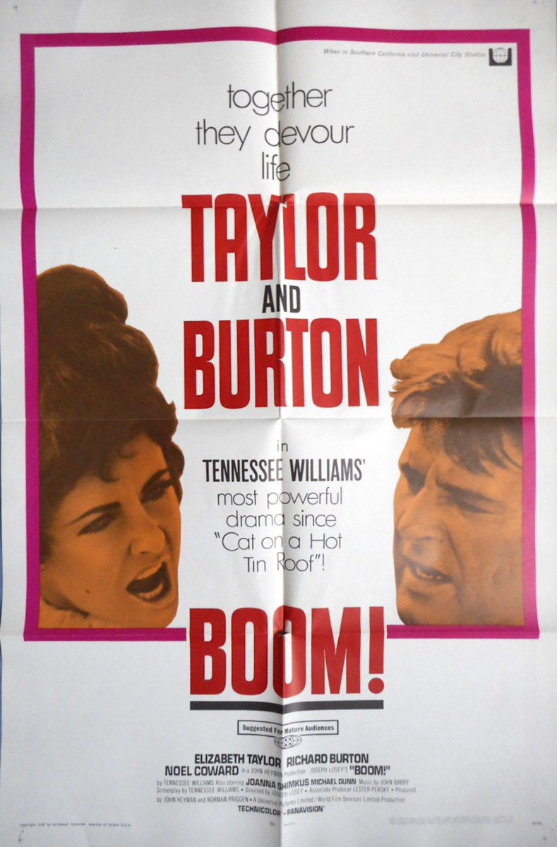 ... EBAY: groovy vintage 1968 Boom! #movieposter, Elizabeth Taylor, Richard  Burton, Tennessee Williams, $34.95, ...