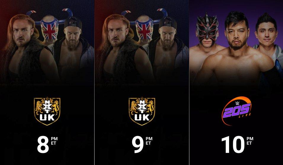 Streaming TONIGHT on @WWENetwork: 8/7c - @NXTUK 9/8c - #NXTUK 10/9c - #205Live  #WWENetwork