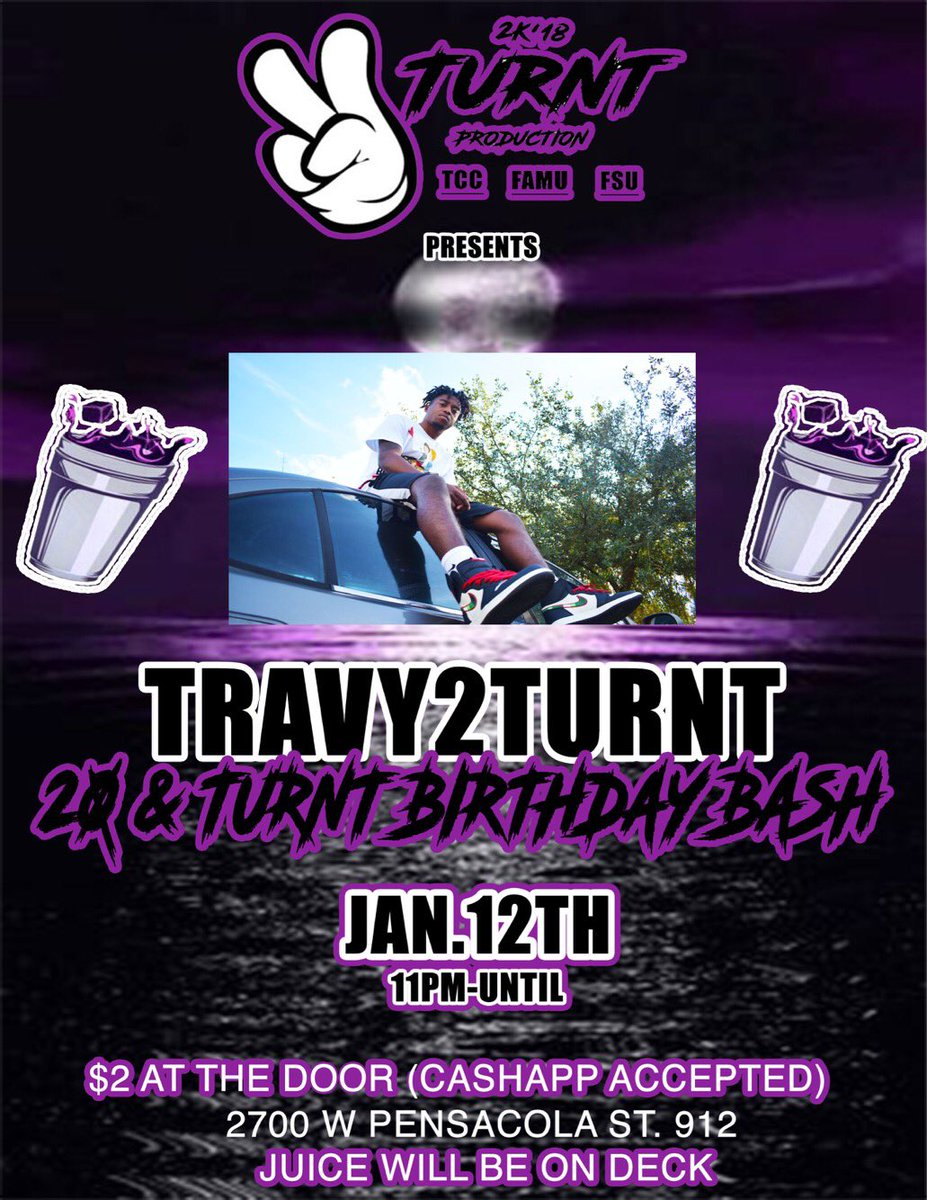 "♑️2TURNT PRESENTS ‼️🔥 @travy2turnt ""s 20 & TURNT BIRTHDAY BASH ‼️🥶🔥  JAN.12 ♑️JUICE WILL BE ON DECK 🍻 ITS GO BE A MOVIE 🎥‼️ #2TURNT #MOVIE #FAMU22 #FSU22 #TCC19 #TRAVY2TURNT #BACCATIT #TWRK #JOOK #JAM #DJ #FIREDUP #CAPRICORN ♑️"