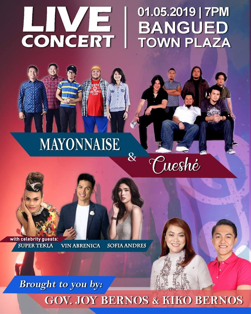 JOY'n the Live Concert at Bangued Town Plaza tonight (January 5, 2019), 7pm with @Mayonnaise, @cueshetheband , Vin Abrenica, Sofia Andres, and Super Tekla! #aGiftofJOY #SoundofJOY #joy2019 #ABRAnewexperience #bdayconcert
