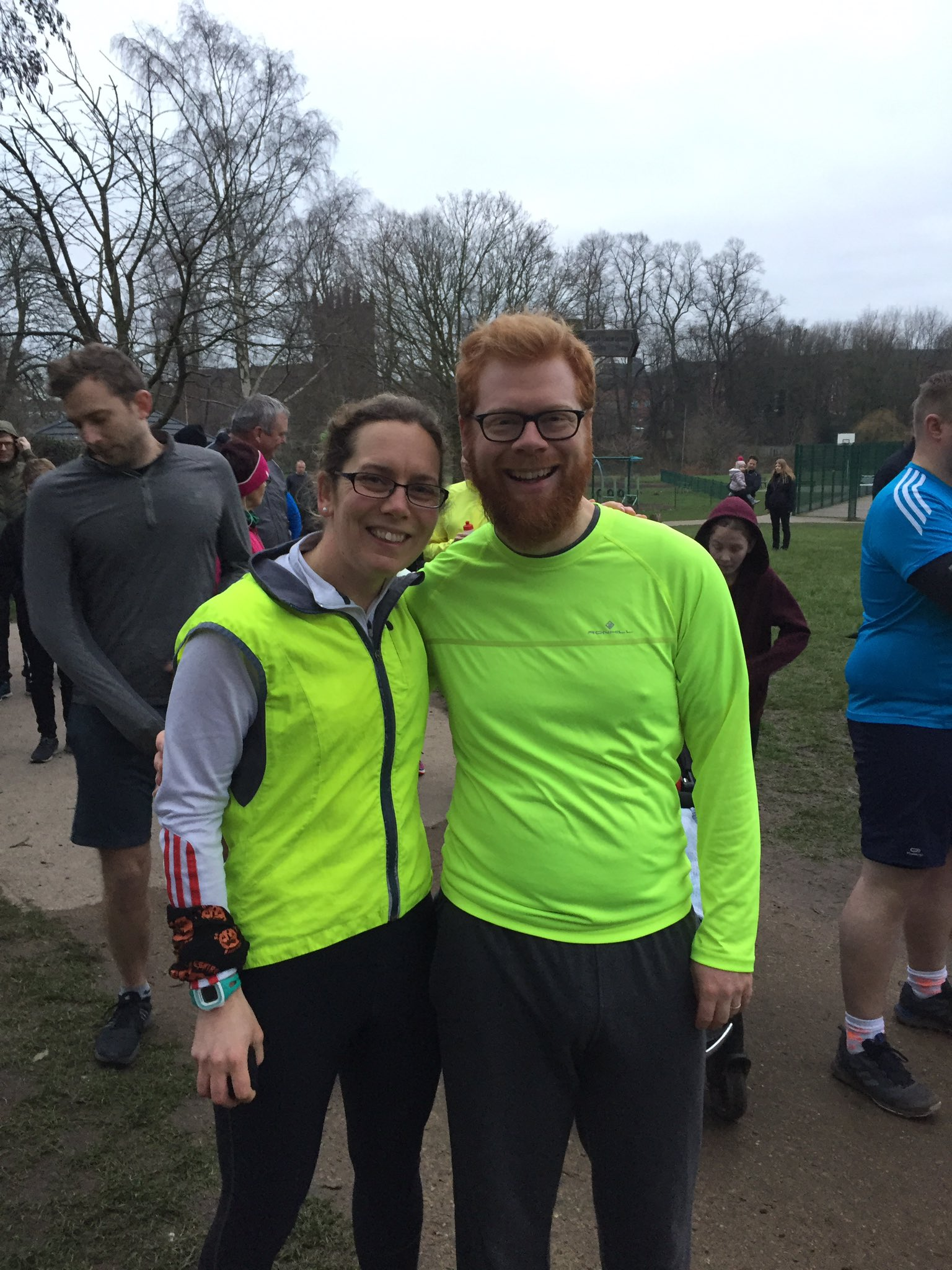 Me and my cousin after the second parkrun - with a real smile on my face this time!
