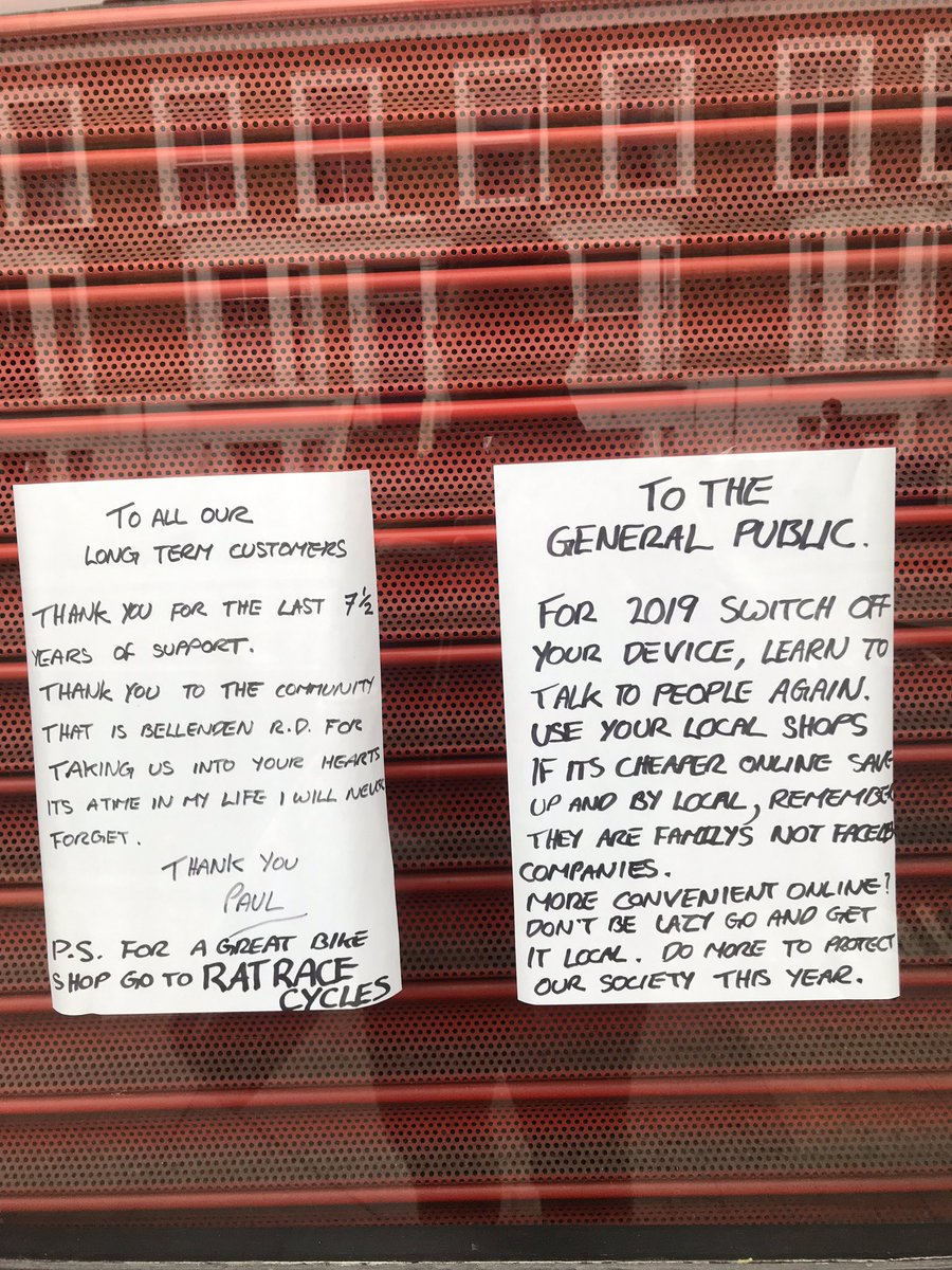 Messages from a just- closed local business in Peckham