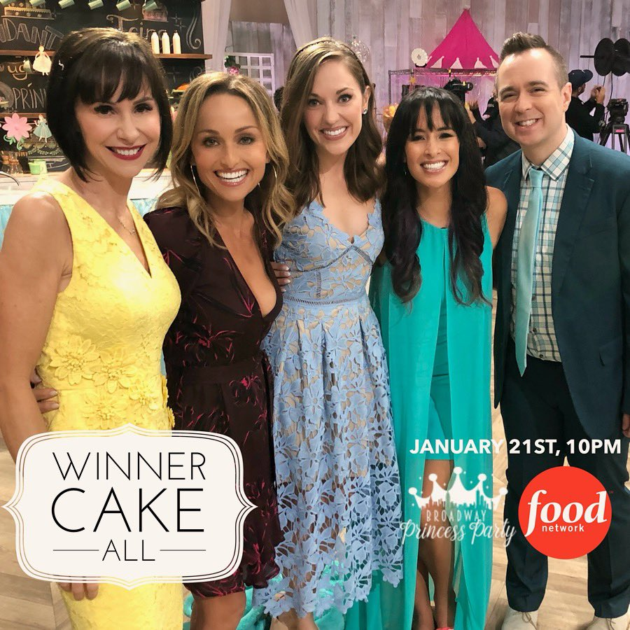 "MARK YOUR CALENDARS! We're going to be featured on a brand new @foodnetwork baking competition show called #WinnerCakeAll hosted by the queen herself, @giadadelaurentiis! Our episode, ""It's A Broadway Princess Party"" premieres on January 21st at 10PM! Tune in, royals! 💖🍰"