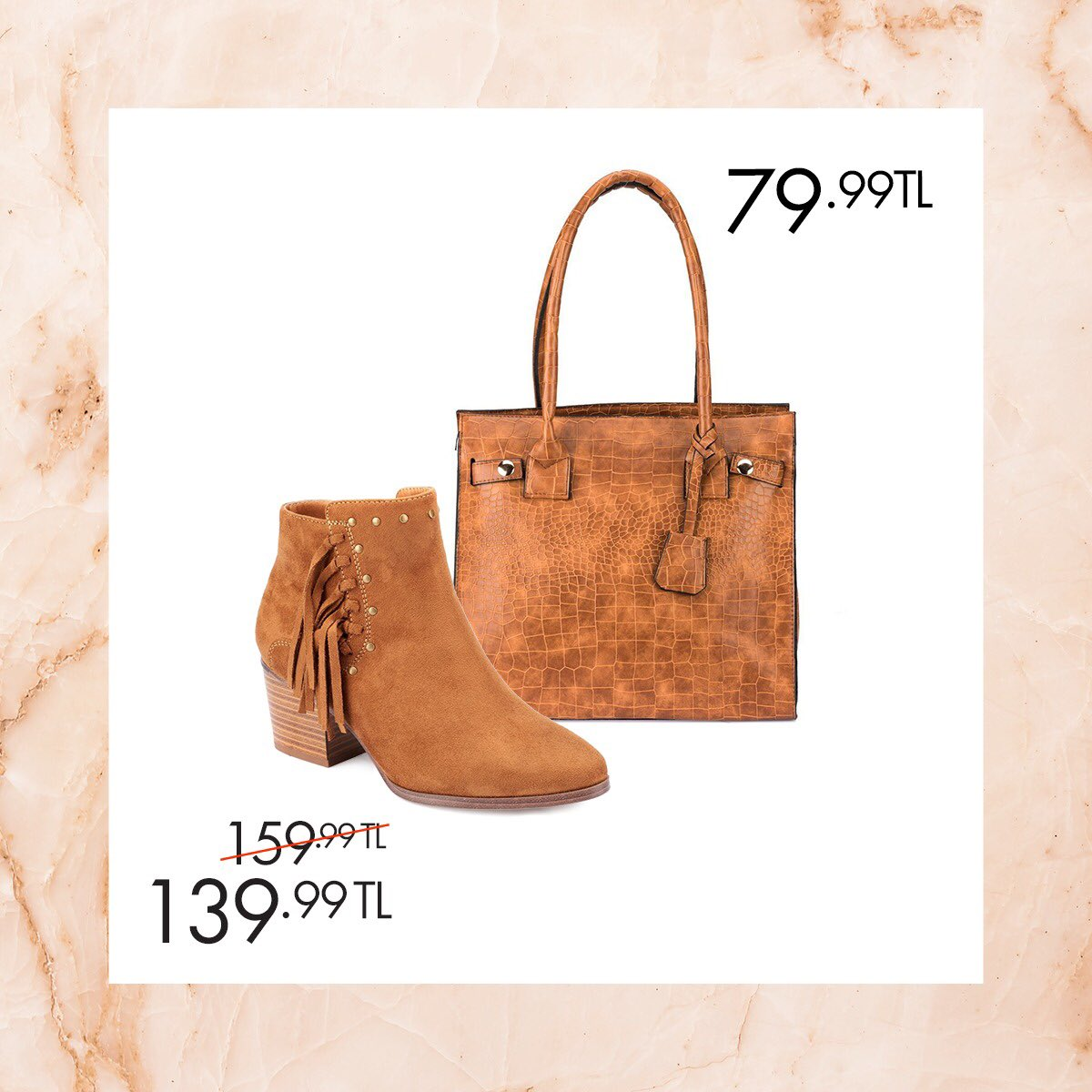 Midi boy elbiselerinizin tamamlayıcısı olacak ayakkabı ve çantalarla şık bir görünüm kazanın! Taba Kadın Bot 36-40 Numara 139,99 TL 🔎 100335526 http://bit.ly/2AxP5qk Taba Kadın Omuz Çantası 79,99 TL 🔎 100337454 http://bit.ly/1ojnlee