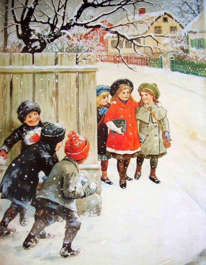 старинные открытки с детками зимой малышку скайпу мастурбацию