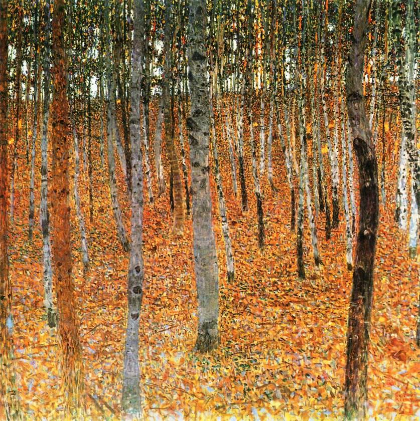 autumn paintings : Gustav Klimt, Birch Forest I, 1902
