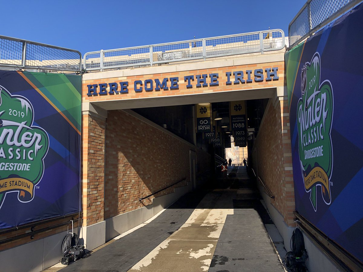 John Walton On Twitter Skates Not Football Cleats Coming Down This Tunnel Today We Ve Got Michigan Notre Dame Outside At Notre Dame Stadium Today At 4 30 On Nbcsn Https T Co Ijtmhhkfue