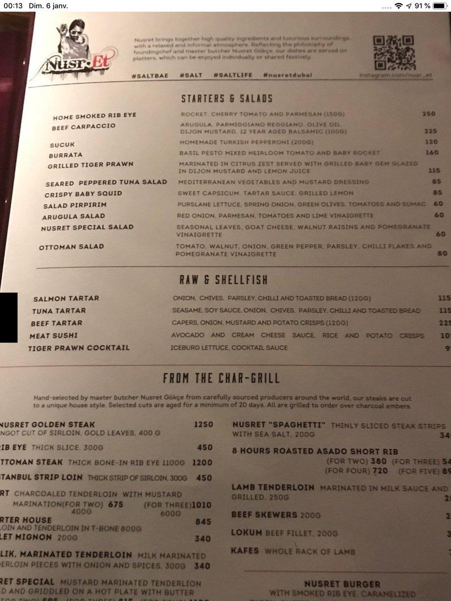 Nusret Dubai Karte.Mimosa On Twitter Restaurant De Salt Bae A Dubai Voici