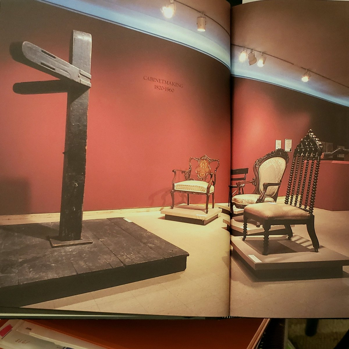 Installation Of A Baltimore Whipping Post Surrounded By Four Onate 19th Century Chairs