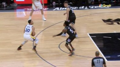 Steph tried Harden's step-back and got called for a travel 🙃