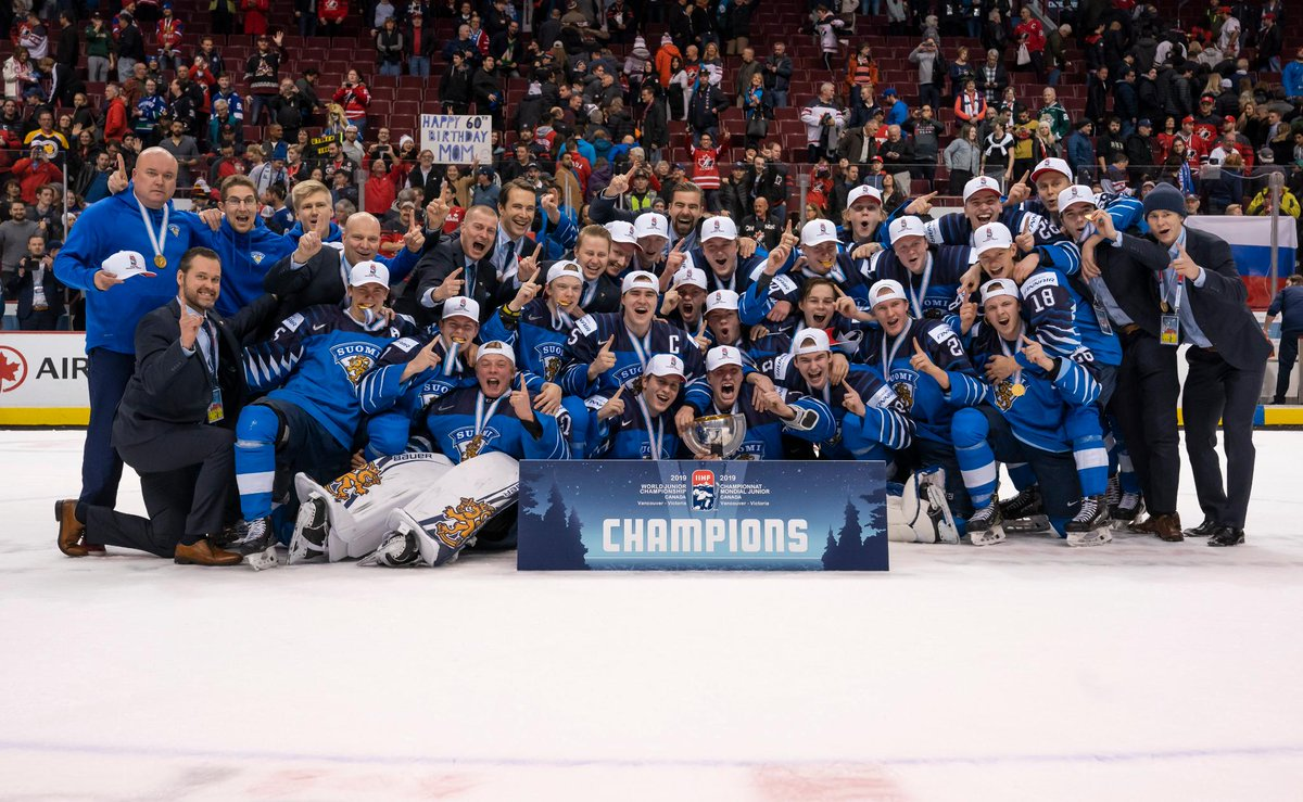 Congrats to Team 🇫🇮 (@leijonat) on winning gold at the 2019 #WorldJuniors! 🥇👏
