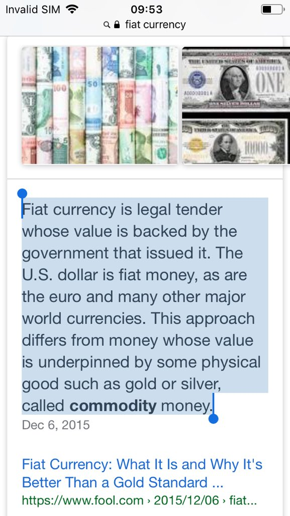 Screenscrape from Wikipedia fiat currency article