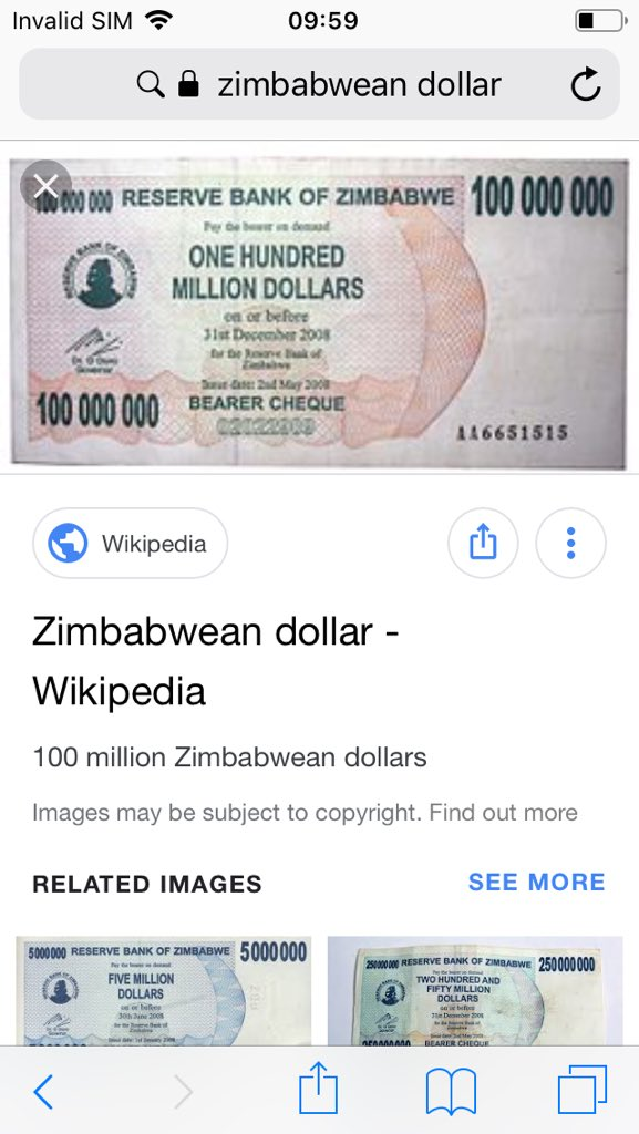 Image of a trillion dollar Zimbabwean bank note