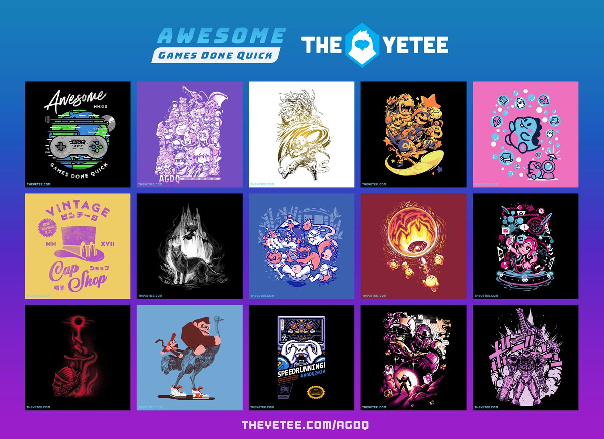 The Yetee On Twitter New Our Gamesdonequick Collection Is Now Live Starting Right Now You Can Grab Your Favorite Designs And 4 From Every Tee Sold Will Be Going To The Its time for games done quick and our #agdq2021 collection is now live! the yetee on twitter new our