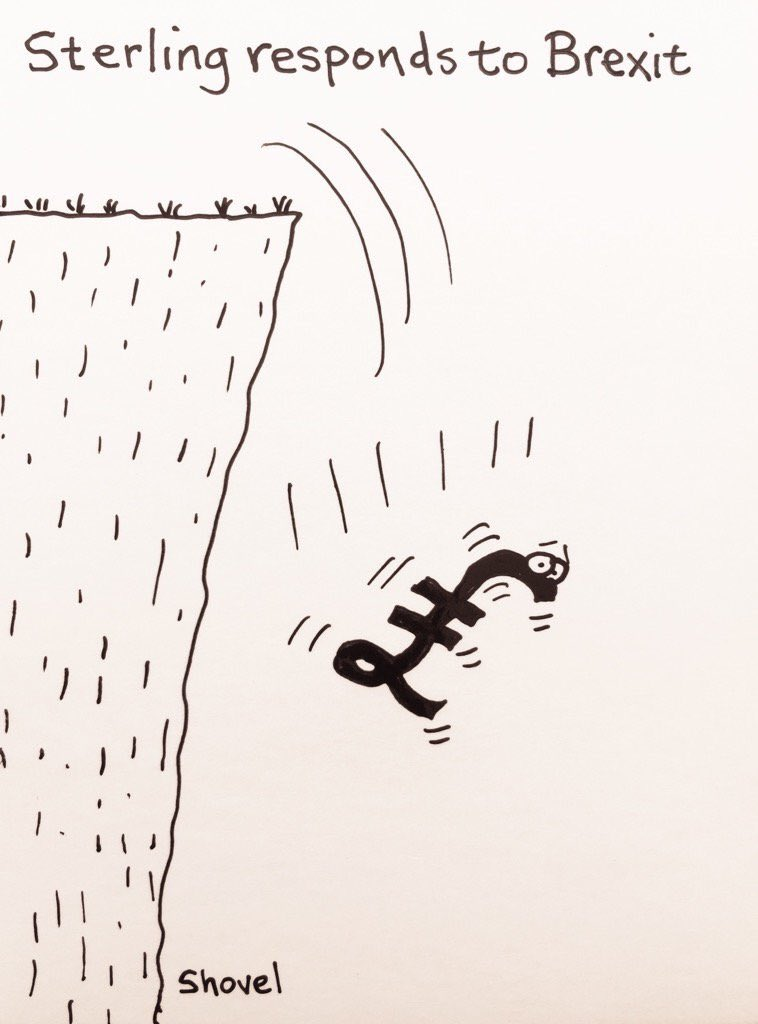 Cartoon of pound falling off cliff