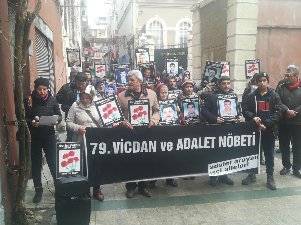 """İş cinayetlerinde hayatını kaybeden işçilerin aileleri 79. kez """"adalet"""" dedi"""