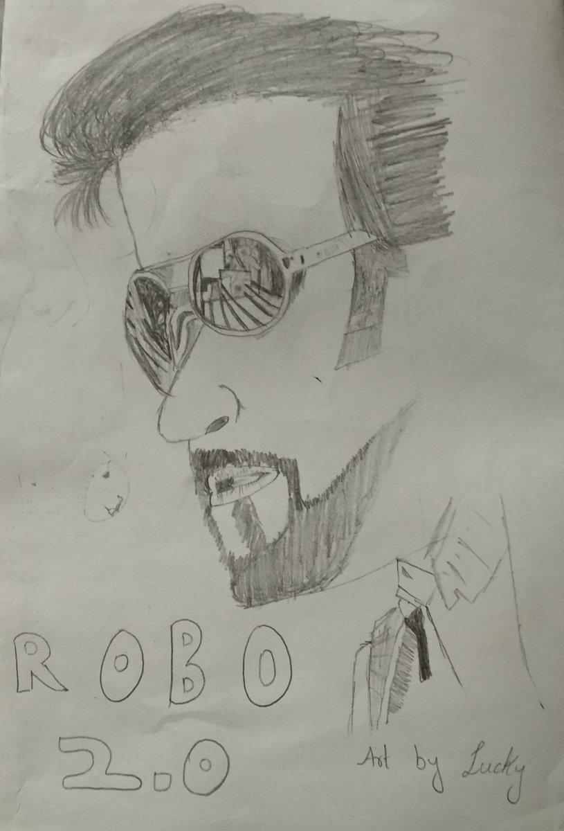 @rajinikanth The Stylish look has drawn by this 5 Standard Kid #lucky  #thalaiva #rajini #indiansuperstar #robo2.0