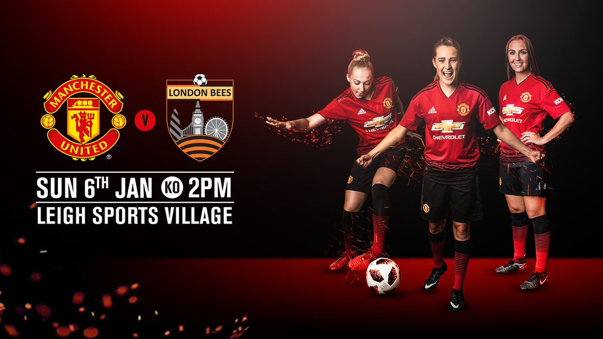 GAME DAY! Today it's @ManUtdWomen v @LondonBees in the @FAWC_ Please remember that it's a 2pm kick off! Tickets are £5, £2.50 concs. #MUWomen