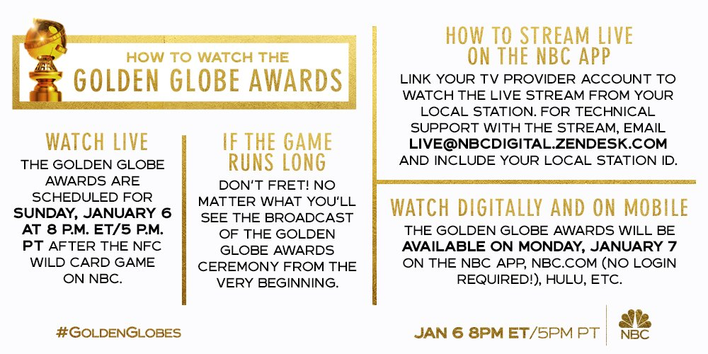 Dont miss Sandra Oh and Andy Samberg hosting the #GoldenGlobes TONIGHT at 8pm ET/5pm PT after the NFC Wild Card Game on NBC. There are so many ways to watch - and were here if you need us!
