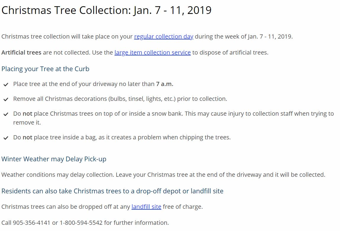 City Of Port Colborne On Twitter A Reminder That The Parallel Christmas Lights Click For Details Outlined Below More Info Here Https Niagararegionca Waste Collection Items Treesaspx Pic Hrc8dcjigy