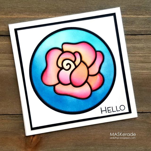 Simple 'stained gass' inlaid dies for this week's @splitcoaststampers #featuredstamper challenge.  I used the Blooming Rose die from #ajillianvancedesign and blended inks from #catherinepoolerdesigns #cardmaking #handmadecards #maskeradecards http://bit.ly/2GY7kea