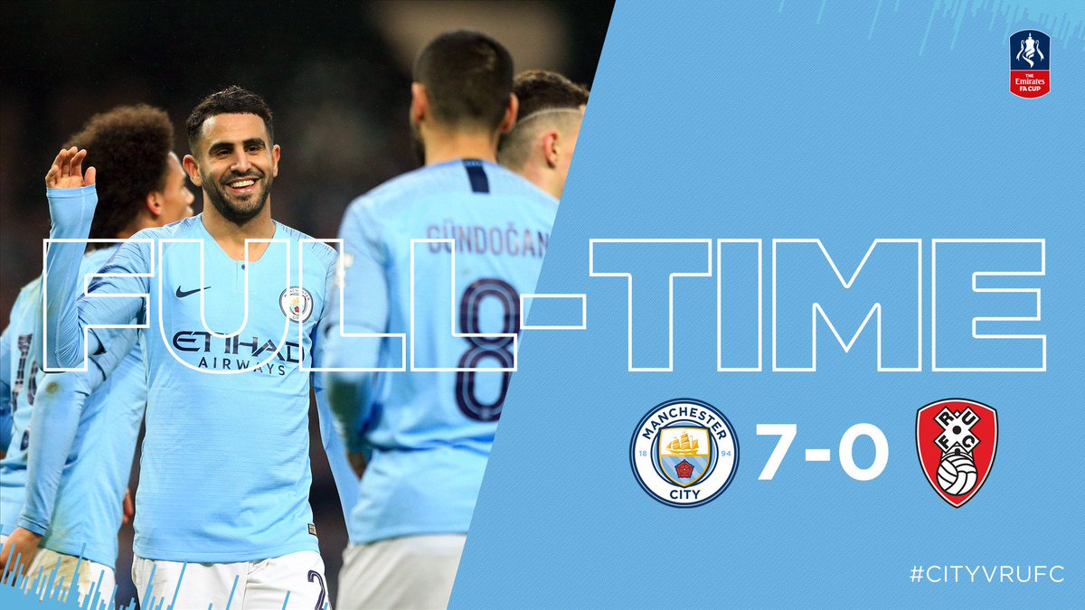 FULL-TIME | Ruthless and clinical. The goals fizzed in as 7up City make the #facup Fourth Round.  🔵 7-0 🔴 #cityvrufc #mancity https://t.co/6nesENVELD