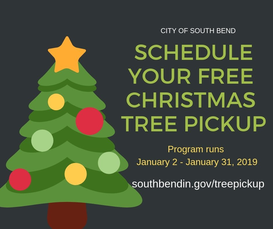 graphic of a Christmas Tree with text advertising Christmas Tree Pickup