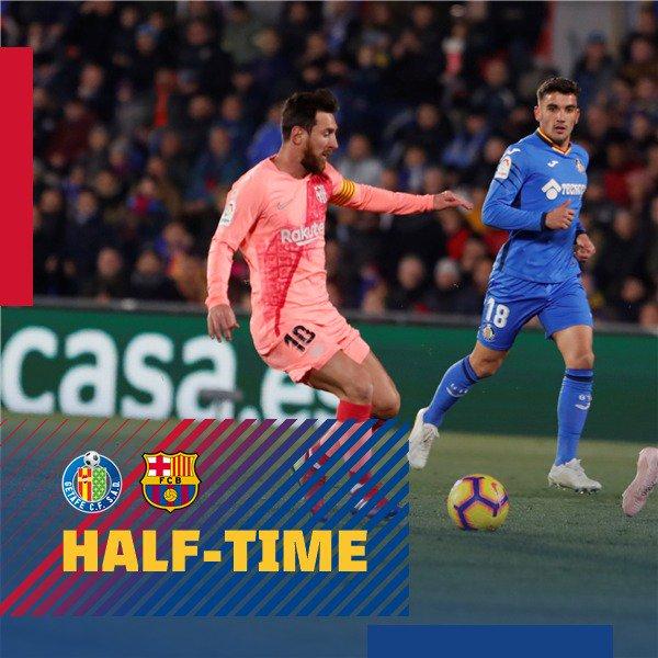 ��HALF TIME: Barça lead 2-1 against Getafe. Let´s go team! �� https://t.co/SsxerwNMnP