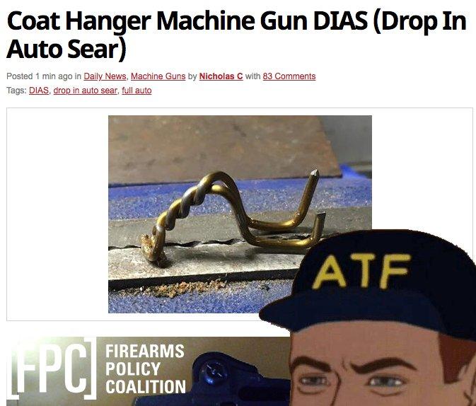 Coat Hanger Machine Gun DIAS Drop In Auto Sear The t