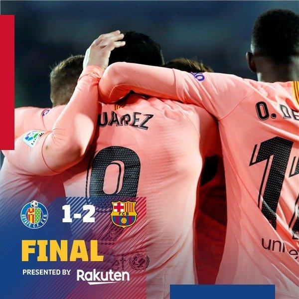 ��FULL TIME! Vamos! Barça beats Getafe 2-1 and extends lead in @LaLiga! ���� https://t.co/hTgRrjAODS
