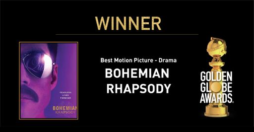 Congratulations to Bohemian Rhapsody (@BoRhapMovie) - Best Motion Picture - Drama. - #GoldenGlobes Photo