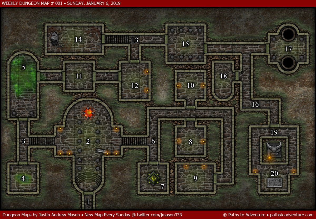 Justin Andrew Mason On Twitter Weekly Dungeon Map 001 A New Map Released Every Sunday On Twitter By Jmason333 Pathstoadventure Sundaydungeonmaps Vtt Cartography Maps High Resolution Vtt Files Available Here Https T Co Botbufmhvo Https