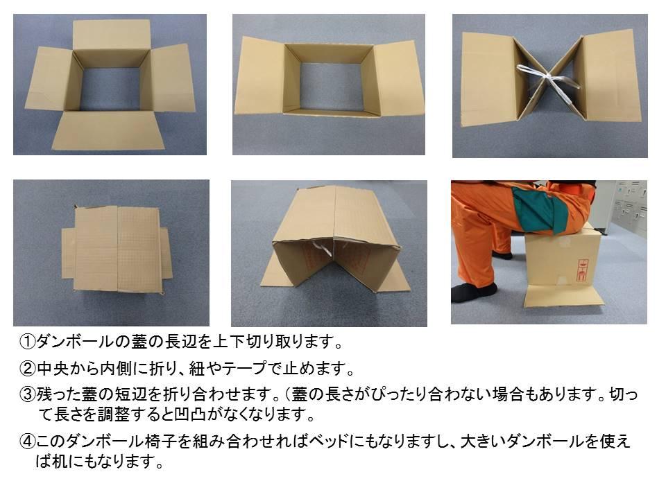 以前、「段ボールで作るイスやベット」を紹介しましたが、今回は別の方法で再度イスを作ってみました。蓋の長辺を切り、中央から内側に折り(紐で結べばより固定されます)、残った蓋を折り合わせて完成です。簡単で大人が座っても十分な安定感でした。大きな段ボールで作れば机にもなります!
