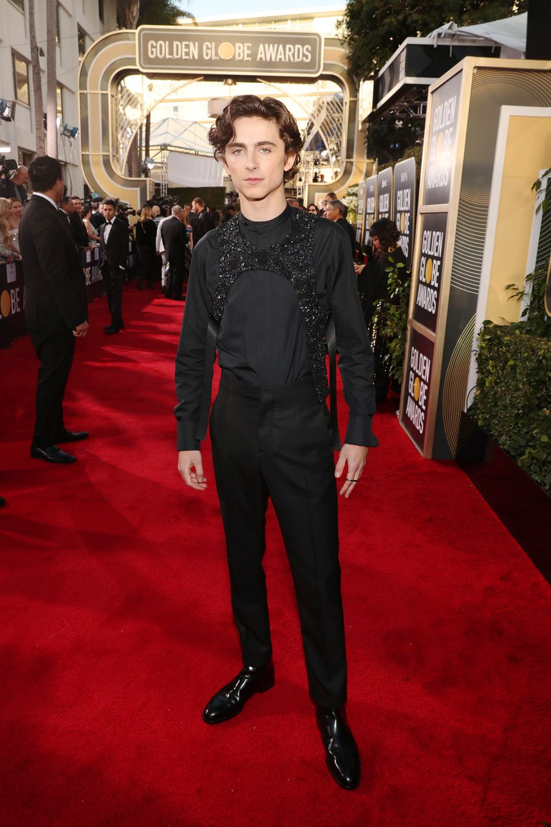 Timothée Chalamet takes one of Virgil Abloh's brand-new Louis Vuitton harnesses for a spin on the red carpet. #GoldenGlobes