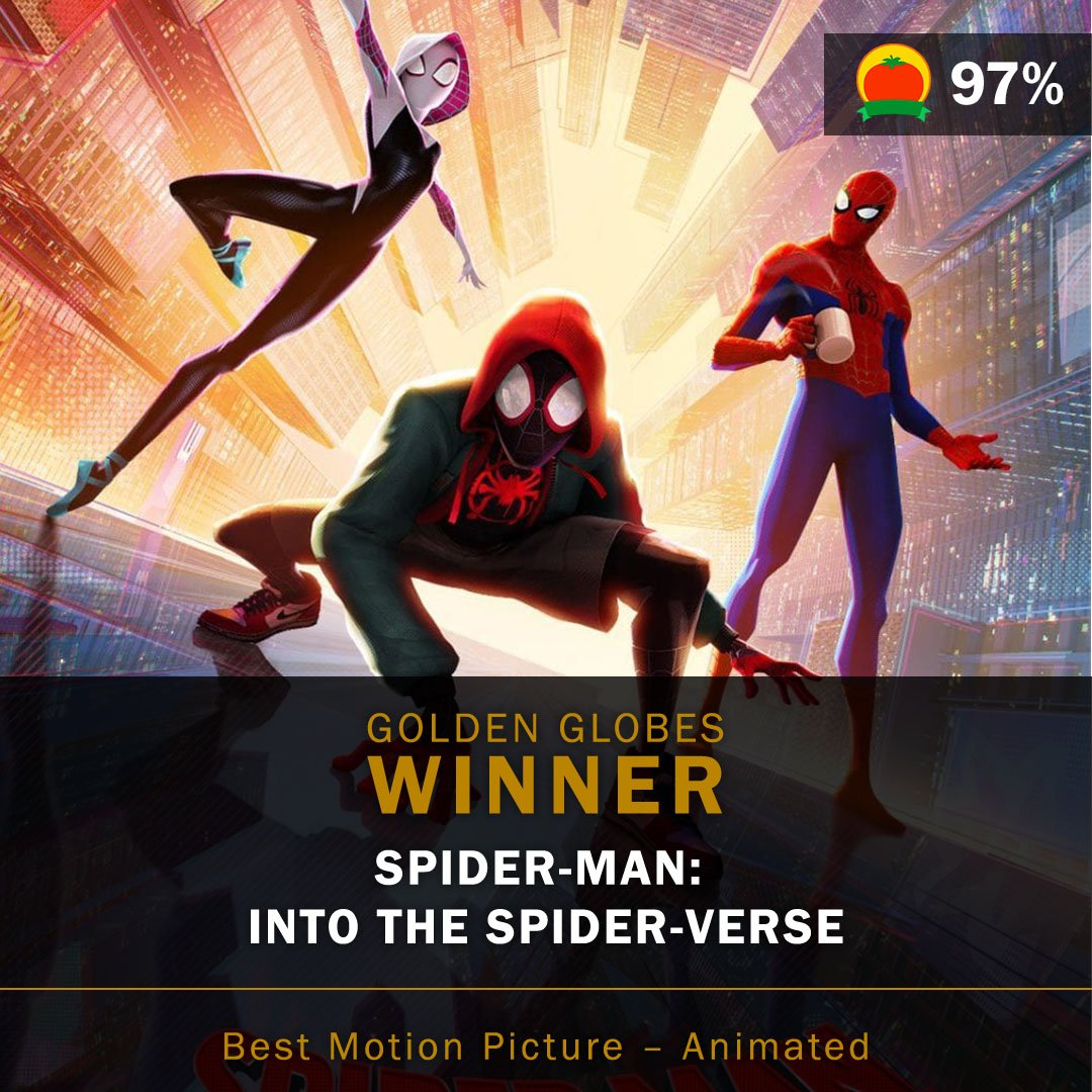 Congratulations to #SpiderVerse (97%) for winning Best Animated Feature at the #GoldenGlobes