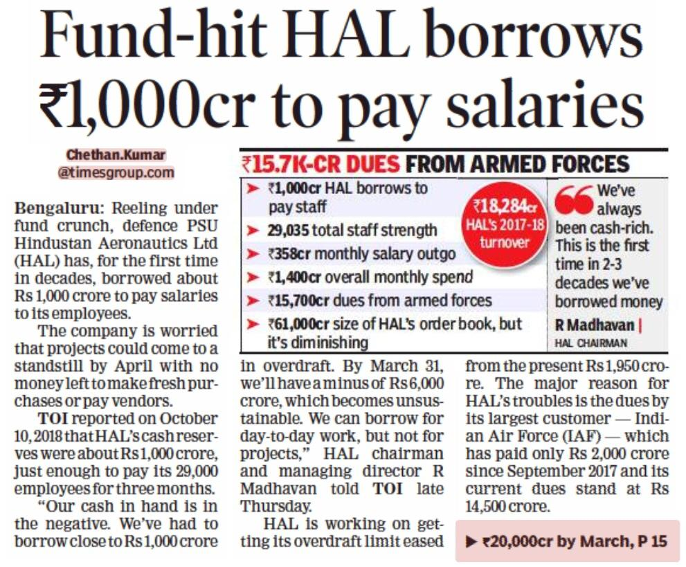 Image result for hal borrows to pay salaries