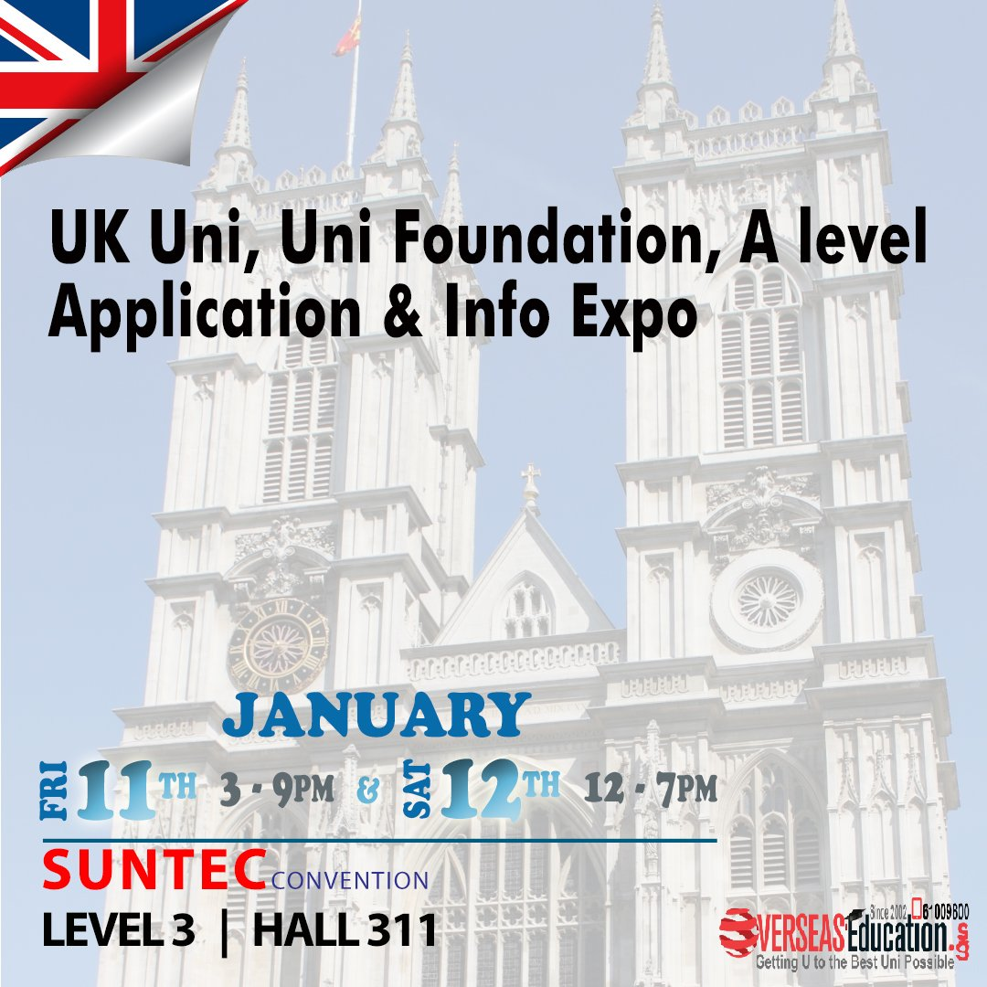 Meet UK Unis - Birmingham, Glasgow, Liverpool, Surrey, Dundee,  City Uni of London, INTO, and many more at our World Uni Expo on Fri 11 Jan 3-9pm & Sat 12 Jan 12-7pm at Suntec Lvl 3 Hall 311. Call 61009800 for 1 to 1 counselling or visit http://uk.OverseasEducation.sg #ukfdn #ukschoolspic.twitter.com/jbBadPOtbN