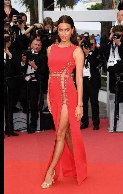 Happy birthday Irina Shayk! Here she is in Versace at Cannes.