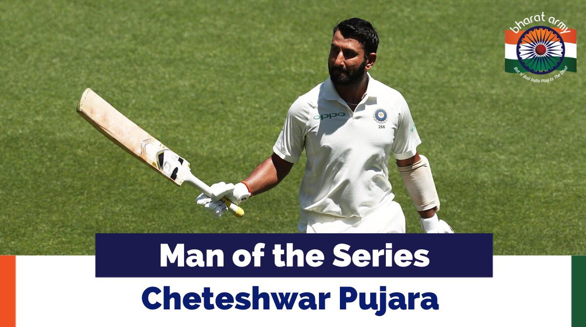 The Man of the Match and Man of the Series is Cheteshwar Pujara!