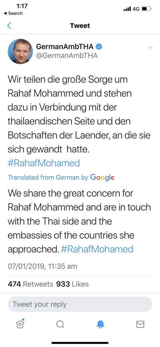 And as western embassies stood by, #Germany stepped up. According to @GermanAmbTHA, he is now coordinating on her behalf with authorities. Rafah evaded the flight today but as we know with these belligerent nations, there are many ways to capture such women beyond airlines.