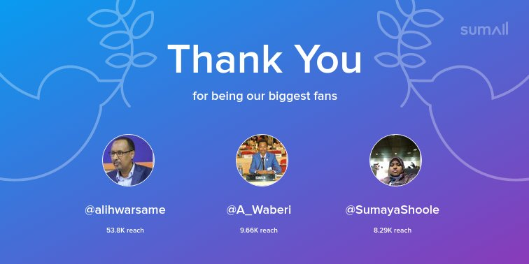 Our biggest fans this week: @alihwarsame, @A_Waberi, @SumayaShoole. Thank you! via https://sumall.com/thankyou?utm_source=twitter&utm_medium=publishing&utm_campaign=thank_you_tweet&utm_content=text_and_media&utm_term=c36e9a4840e4c7aa419fea3c …