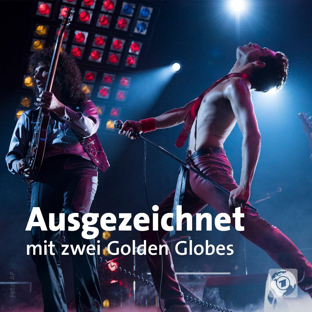 #BohemianRhapsody über Queen-Frontmann Freddie Mercury hat den Golden Globe als bestes Filmdrama gewonnen. Rami Malek - im zweiten Bild mit Queen-Gitarrist Brian May und -Schlagzeuger Roger Taylor – wurde als Bester Hauptdarsteller in einem Drama ausgezeichnet. #GoldenGlobes