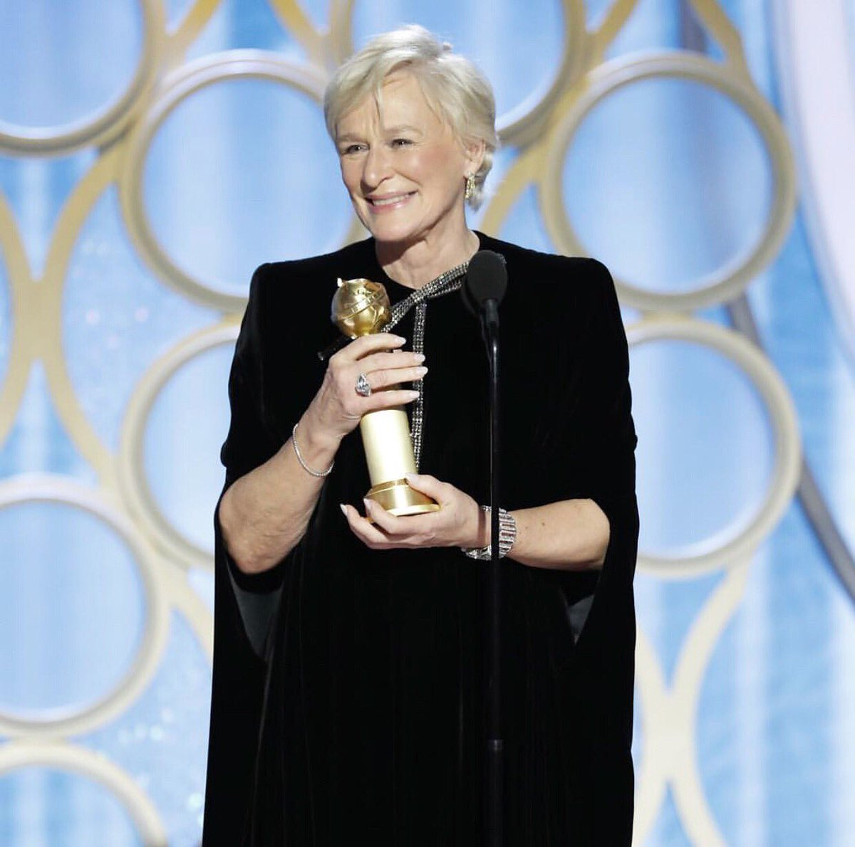 """Congratulations to Glenn Close on winning the Golden Globe for Best Actress in a Drama Motion Picture with """"The Wife"""" ✍🏼🌟"""