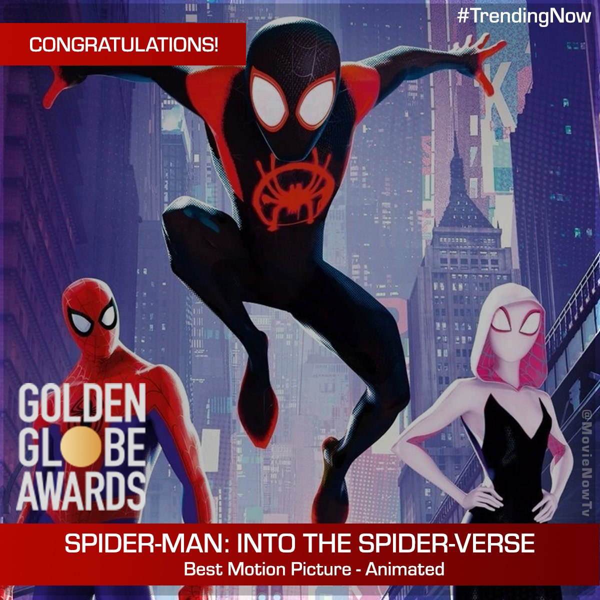 Looks like the masked men from Spider-Verse have already suited up to receive the Golden Globe 'Best Animated Feature Film'. #TrendingNow #GoldenGlobes