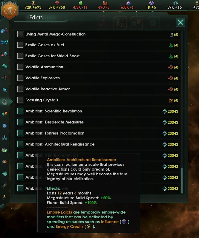 Stellaris On Twitter You Can Spend Unity On Ambitions Should Be